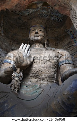 Stone carving of Yungang grottoes, two buddhas - stock photo