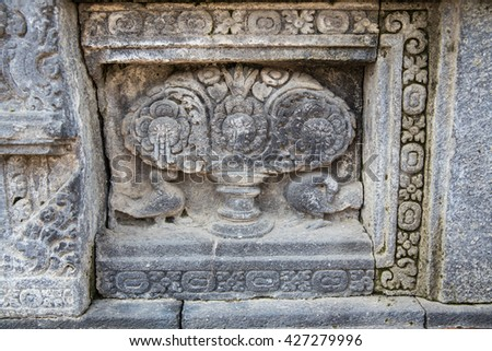 Stone carving telling part of the religious related legend at Prambanan temple, Java Indonesia