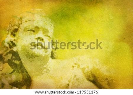 Stone cherub grunge background - stock photo