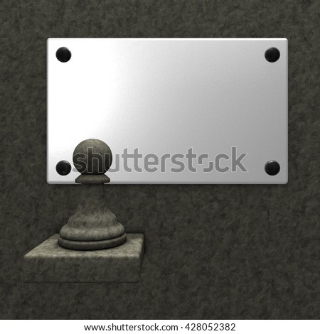 stone chess pawn and blank white sign - 3d rendering - stock photo