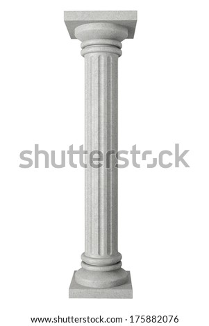 Stone Classic Greek Column on a white background