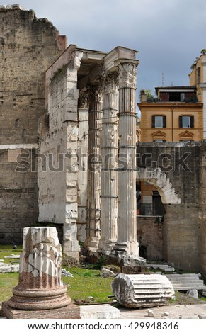 Stone columns in the Imperial forum of Emperor Augustus. Rome, Italy - stock photo