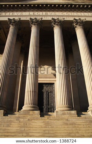 stone courthouse steps - stock photo