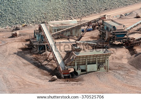 stone crusher in a quarry. mining industry.