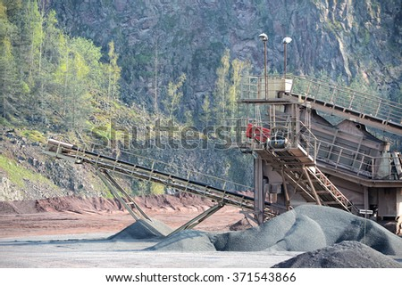 stone crusher in a quarry. mining industry