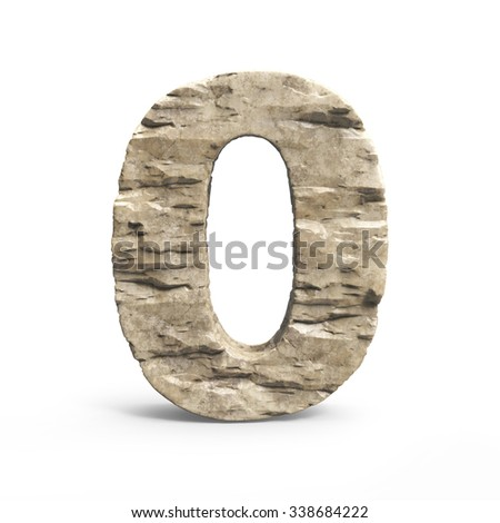 stone 3d font number 0 - stock photo