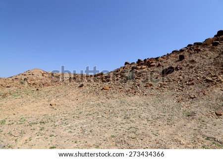 Stone Desert in the center of Jordan, Middle East