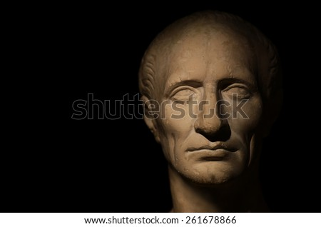 stone face of a man (studio photo plaster sculptures) - stock photo