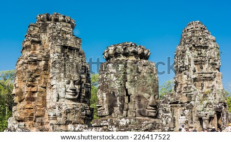 Stone faces at the bayon temple in Siem Reap,Cambodia - stock photo