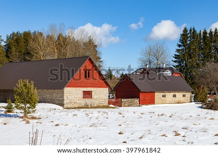 Stone farm houses. Traditional Estonian architecture
