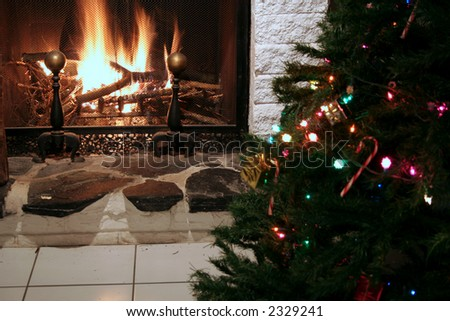 Stone fireplace with christmas tree