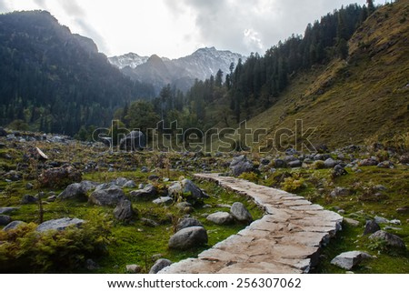 stone footpath in valley in himalayas - stock photo