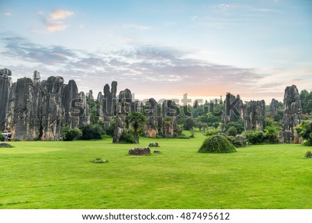 stone forest scenic national park, kunming city ,yunnan province, China.