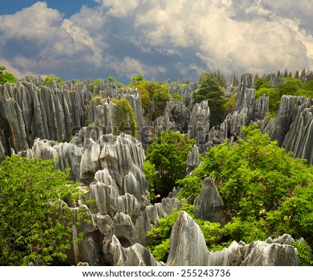 Stone forest Shi Lin. National park in Yunnan province, China - stock photo