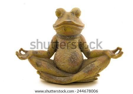 Stone frog who meditaties - stock photo