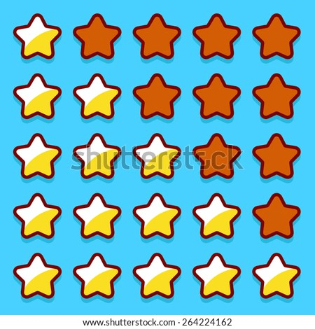 Stone game rating stars icons buttons interface