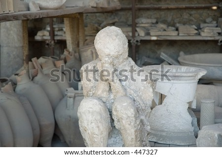 stone girl form Pompeii, the famous city in southern Italy destroyed by the eruption of Mt. Vesuvius in AD 79 - stock photo