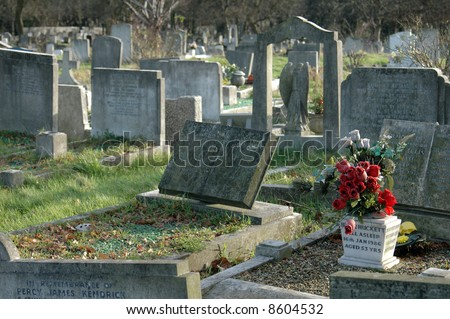 stone graves in a cemetery in london, england - stock photo