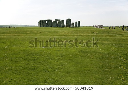 Stone Hedge with grass and sky - England - stock photo