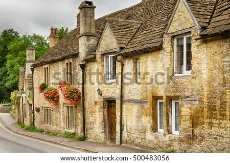 Stone houses in Castle Combe Village, Wiltshire, England