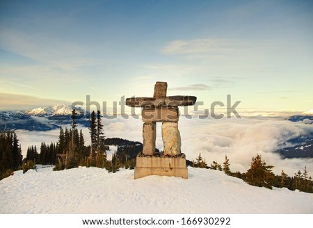 Stone man on Whistler - stock photo