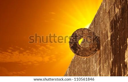 Stone Mayan Hoop in Chichen Itza Site - stock photo