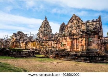 Stone monument at Panomrung castle, Buriram province Thailand - stock photo