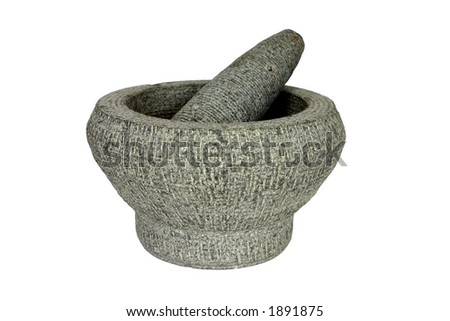 Stone mortar and pestle - stock photo