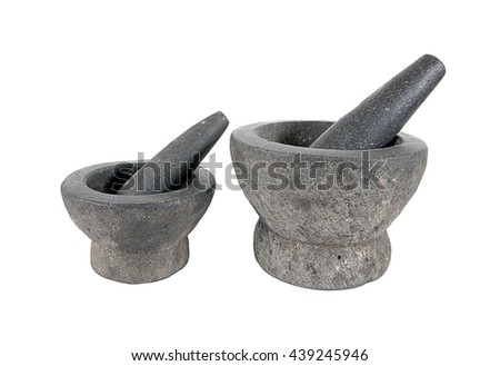 Stone mortar and pestle isolated on white background.Rock mortar - stock photo