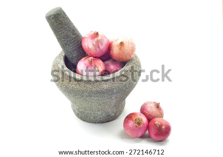 stone mortar and pestle with red onion  - stock photo