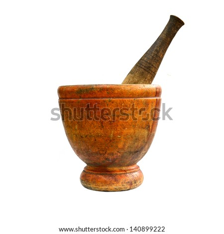 Stone mortar on white background