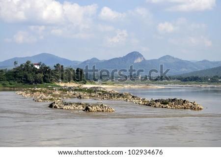 Stone Mountain River Outdoor Rock Asia - stock photo