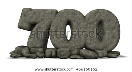 stone number seven hundred on white background - 3d rendering - stock photo