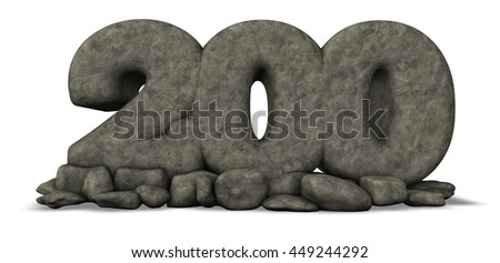 stone number two hundred on white background - 3d rendering - stock photo