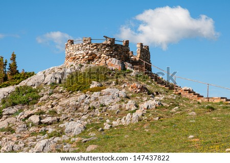 Stone observation deck in the Snowy Range of Wyoming. - stock photo