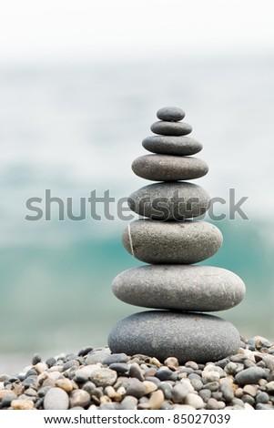 stone on sea shore closeup - stock photo