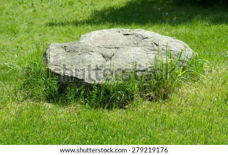 stone on the grass - stock photo