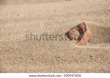 stone on the seashore at sun