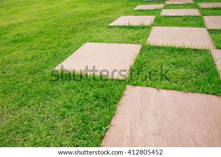 Stone path on green grass background.