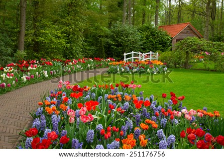 stone path to hut in the spring flower garden Keukenhof, Netherlands - stock photo