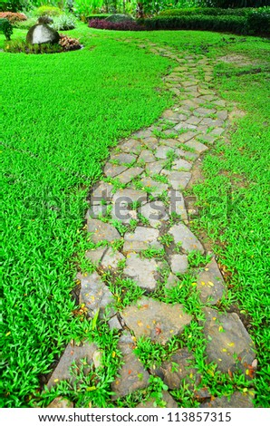 Stone Pathway in a Green Park