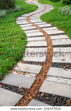 Stone pathway in the park - stock photo