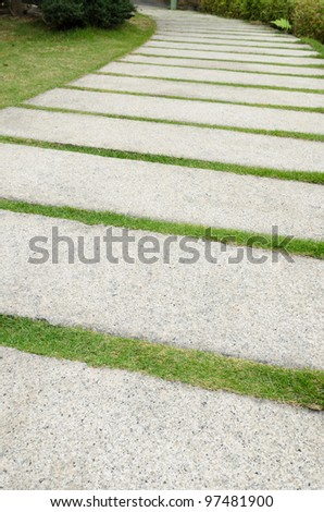 Stone pathway on grass