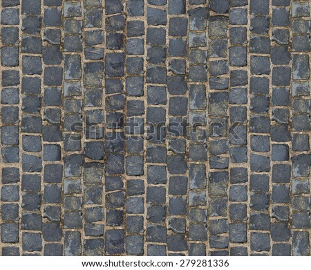Stone pavement texture. Granite cobblestoned pavement background. Abstract background of old cobblestone pavement close-up. - stock photo