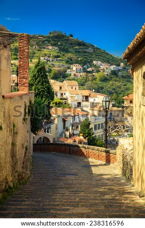 stone paving in a small town Savoca, Sicily, Italy - stock photo
