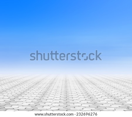 Stone paving with sky and clouds - stock photo