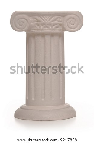 Stone pillar supporting a veiled object on a white background