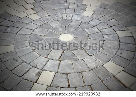 Stone roadway from granite area in Prague - stock photo