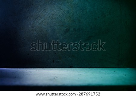 Stone room in blue tone. stone wall and floor. - stock photo