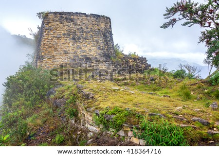 Stone ruins from the Chachapoyas culture in Kuelap, Peru - stock photo